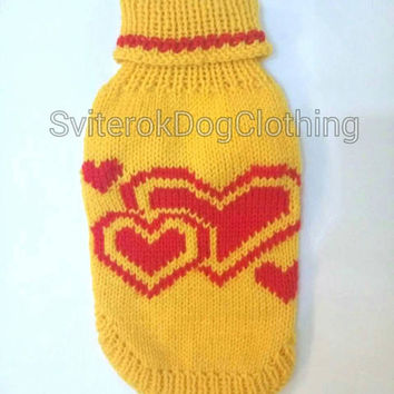 Knit Yellow Pattern Sweater For Dog.Pet Pattern Yelllow Sweater.Knit Dog Pet Pattern Wool Clothing.Wool Sweater for Dog.Dog Clothes. Size M