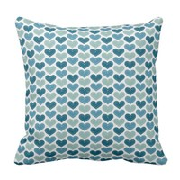 Beautiful Blue Hearts - Blue Retro Color - Bedroom Throw Pillow