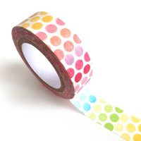 Rainbow Polka Dots Washi Tape (10M), Paper, Sticker, Scrapbooking