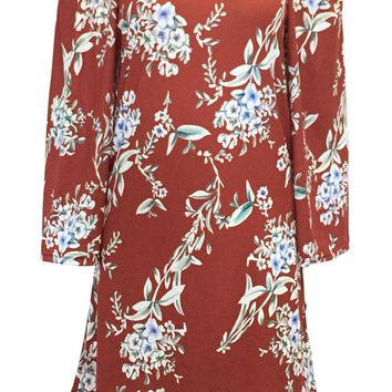 Streetstyle  Casual Off Shoulder Floral Printed Fancy Shift Dress
