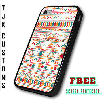 iPhone 4 Case iPhone 4s Case iPhone Aztec Print Tribal Pattern Case Durable Rubber Borders