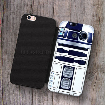 Wallet Leather Case for iPhone 4s 5s 5C SE 6S Plus Case, Samsung S3 S4 S5 S6 S7 Edge Note 3 4 5 R2D2 star wars inspired Cases
