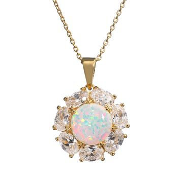 Lab-Created Opal & Cubic Zirconia 14k Gold Over Silver Flower Pendant Necklace-ON SALE NOW