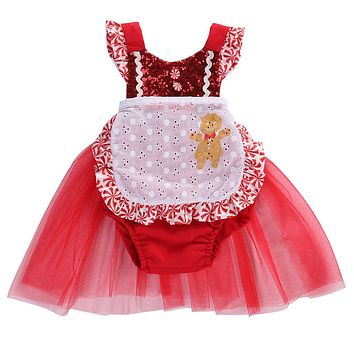 Christmas Baby Kids Girl Flower Tulle Dress Romper Baby's First Christmas Costumes Birthday Party Tutu Dress