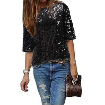 Women Off Shoulder Glitter T-shirt Summer Casual Short Sleeve Loose Streetwear Tops FS99