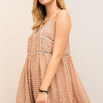 Peach Printed A-Line Dress