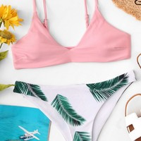 Cami Top With Tropical Print Bikini Set