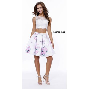 Short Two Piece Lace Top Pink Print Skirt Dress with Pockets
