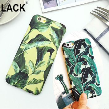 Top quality ultrathin frosted phone cases For Apple iPhone 5 Plants Banana Leaves Hard PC cover For iPhone 5S / 6 6S plus Fandas