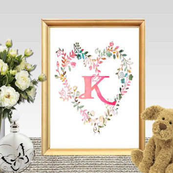 Custom Monogram print Personalized Nursery printable Girls gift Floral Heart Girls monogram Watercolor letters and flowers Large wall art