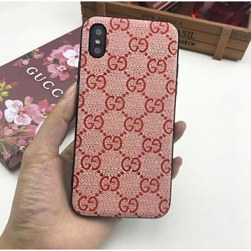 GUCCI Trending Women Men Stylish Classic Double G Silicone Mobile Phone Cover Case For iphone 6 6s 6plus 6s-plus 7 7plus iPhone 8 8 Plus iPhone X Pink I13849-1
