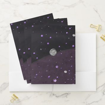 Lost in Midnight Charcoal Stars Pocket Folder