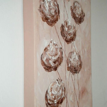 Valentines Day Sale Floral painting Dusty Peach Copper Roses Modern flower art Original abstract painting on canvas- SALE