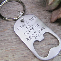 Personalized Bottle Opener Key Chain Dog Tag Keychain Hand Stamped BEST MAN Groomsmen Gift Husband Dad Stocking Stuffer Beer Lover
