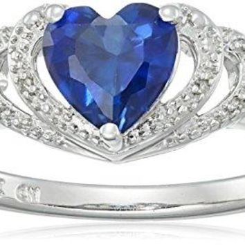 Sterling Silver Gemstone and Diamond Accent Open Halo Heart Ring