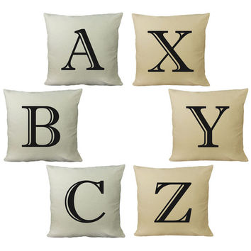 Set of 2 Custom Initial Alphabet Cotton Throw Pillows - Personalize with Your Own Letters