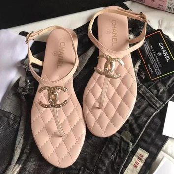 Chanel Flip Flops Front Big Logo Women Casual Fashion Sandal Slipper Shoes Pink