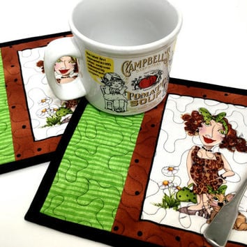 Quilted Cat Mug Rugs - Kitty Lovers Gift - Set of 2 Quilts - Green and Brown - BFF Gift - Crazy Cat Lady - Reversible Quilt Placemats Fiber