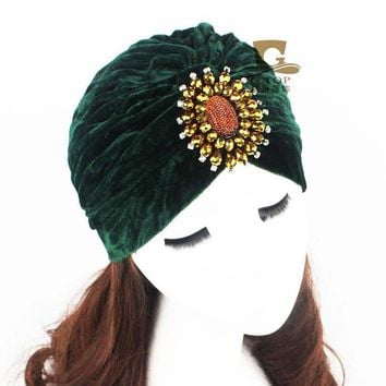 Women Jewel Accessory luxury beads Sparkle dimond jeweled Soft Velvet Turban Headband Beanie Hat Turbante