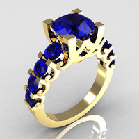 Modern Vintage 10K Yellow Gold 2.0 Carat Blue Sapphire Designer Wedding Ring R142-10YGBSS