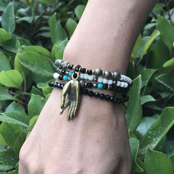 Howlite and Onyx Delicate Necklace Wrap Bracelet with Mudra Pendant