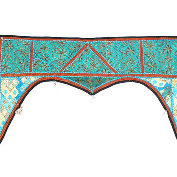 Turquoise Indian Patchwork Handmade Toran Tapestry Window Valance Wall Doorway Hanging
