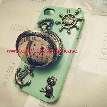 Retro pocket watch anchor iphone 4 case iphone 4s case iphone 5 case samsung galaxy s4 phone case s2 case galaxy s3 case galaxy note 2 case