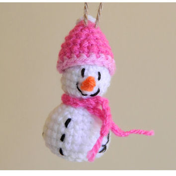 Christmas Ornament-Xmas Tree Snowman Ornament-Holiday Decoration-Christmas Gift for Mom-Crochet Snowman-Holiday Ornament-Holiday Home Decor