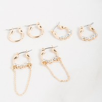 AKIRA Mini Hoop Hinged Fastening Jeweled Metallic Earring Set