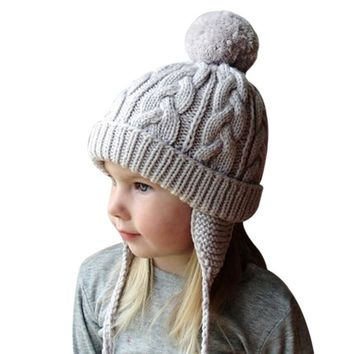 Wool Knitted Kids Pom Pom Hat 2017 Baby Boys Girls Winter Cap Fur Pompom Hat Crochet Beanies Children's Warm Skullies Gorros