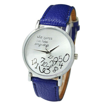 """""""Who Cares I'm Late Anyways"""" Women's Blue Creative Fashion Faux Leather Quartz Watch"""
