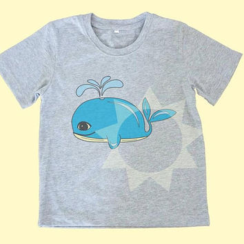 Whale shirt blue fish tee Kids tshirts -Toddler tees -Toddler shirts - Cute Toddler shirts - Boy shirt - Girl shirt