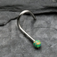 Green Fire Opal Steel Nose Screw Ring