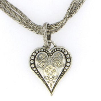 Antique Heart Necklace on Triple Strand Chain