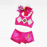Pink Power Ranger Inspired Workout Set Includes Sports Bra, Shorts and Bow