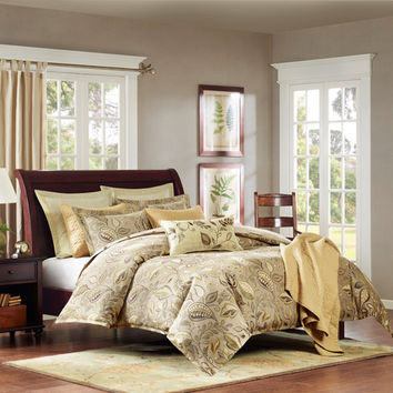 Hampton Hill FB10-897 Sugar Plum Tan and Green Six Piece Queen Comforter Set