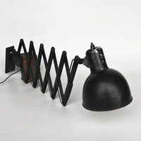 Vintage Bauhaus Scissor Lamp / Accordion Lamp / Adjustable  Industrial  Wall Light  / Keiser Idell Style / Black