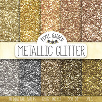 SALE. Gold Glitter Digital Paper. Glitter Texture Scrapbook Background. Silver Metallic Sparkle Party Backdrop. Silver, Gold New Years Paper