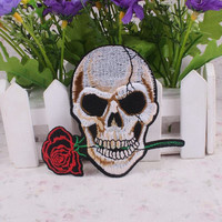 Skull Rose Iron On Patch