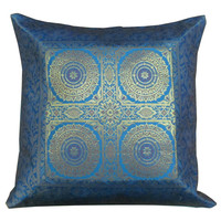 16 - Inch Blue India Silk Brocade Toss Cushion Cover