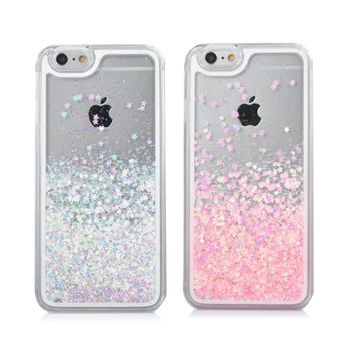 Stylish Transparent Hard Dynamic Liquid Glitter Sand 3D Stars Case For iPhone 6 & iPhone 6s Plus