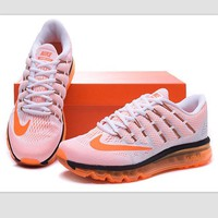 NIKE Trending Fashion Casual Sports Shoes AirMax Toe Cap hook section knited Orange hook soles