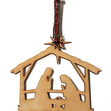 Manger Scene Cutout Laser Engraved Wooden Christmas Tree Ornament Gift Seasonal Decoration