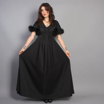 70s Glam MAXI DRESS / Black Ostrich FEATHER Trim Full Gown, s-m