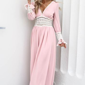 So Thrilling Pink Jumpsuit With Crochet