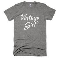 Vintage Girl, vintage style, soft t-shirt, summer, top, American Apparel, yoga, workout, camping, funny