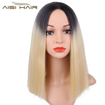 """I's a wig"" Black/Golden Wig Straight  Synthetic Wigs Short Hair High temperature Fiber"