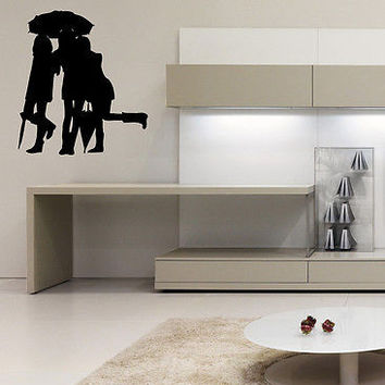 WALL ART STICKER VINYL DECAL PEOPLE SILHOUETTE MURAL PEOPLE RAIN UMBRELLA O520