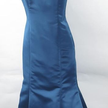 BADGLEY MISCHKA Teal Blue One Shoulder Jeweled Evening Gown size 8