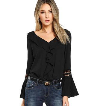 Black Ruffle Neck Lace Insert Blouse